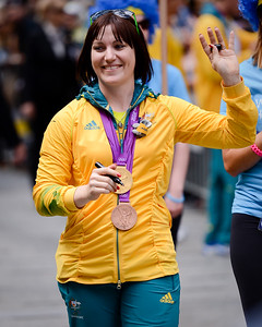 Australian London 2012 Cycling WomenÕs Sprint Gold Medallist, Anna Meares (who also took bronze in the Women's Team Sprint) - Welcome home to Aussie Olympic Athletes; Queen Street Mall,City, Brisbane, Queensland, Australia; 24 August 2012. Photos by Des Thureson - http://disci.smugmug.com. (Camera 1)