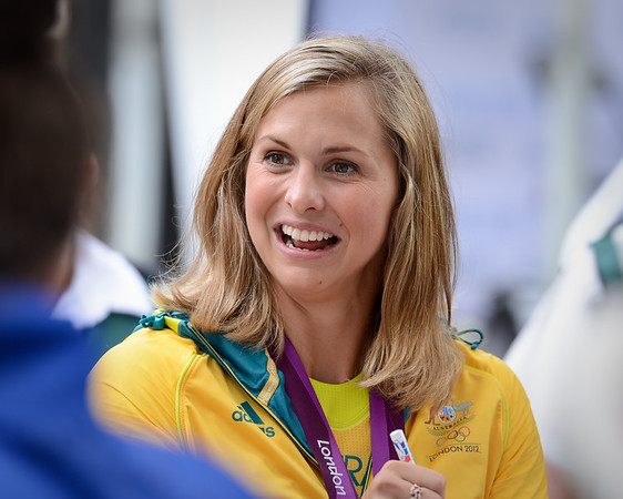 Libby Trickett - Welcome home to Aussie Olympic Athletes; Queen Street Mall,City, Brisbane, Queensland, Australia; 24 August 2012. Photos by Des Thureson - http://disci.smugmug.com. (Camera 1)