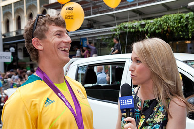 Channel 9 Interview - Welcome home to Aussie Olympic Athletes; Queen Street Mall,City, Brisbane, Queensland, Australia; 24 August 2012. Photos by Des Thureson - http://disci.smugmug.com. (Camera 2)