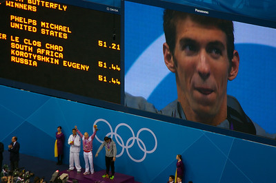 Phelp's gold medal for 100m butterfly ceremony