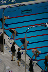 Start of women's 800m freestyle final (Adlington in lane 4)