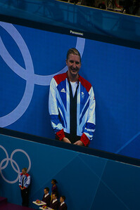 Rebecca Adlington's bronze medal ceremony for 800m