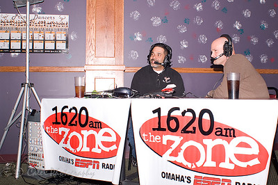 1620 the Zone's Mike'l Severe sharing a light moment with Coach James Kerwin of the Omaha Beef Football team during a recent Beef Coaches show at Sidepockets in LaVista.