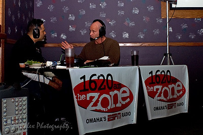 1620 the Zone's Mike'l Severe talking to Beef coah James Kerwin during the Omaha Beef Coaches show on Wednesdays at SidePockets in Lavista.