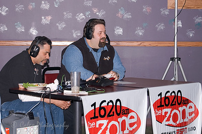 1620 the Zone's Mike'l Severe talking to Beef President/Managing Partner, Dakota Crow, during the Omaha Beef Coaches show on Wednesdays at SidePockets in Lavista.