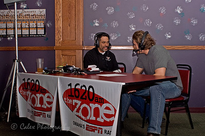 1620 the Zone's Mike'l Severe talking to Colin Bryant, Defensive Lineman for the Omaha Beef, during the Omaha Beef Coaches show on Wednesdays at SidePockets in Lavista.