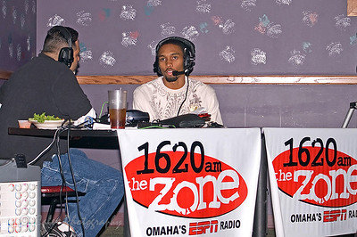 1620 the Zone's Mike'l Severe talking to Beef quarterback James McNear during the Omaha Beef Coaches show on Wednesdays at SidePockets in Lavista.