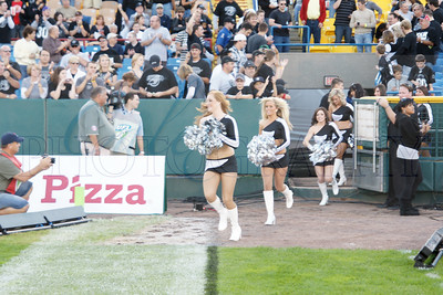Nighthawk's cheerleaders take the field at the first Nighthawks game