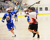 Onondaga Redhawks Brian Phillips Jr. (44) drives to the net against the Allegany Arrows at the Onondaga Nation Arena near Nedrow, New York on Saturday, May 3, 2014.  Onondaga won 21-5.