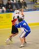 Onondaga Redhawks Corey Thompson (18) being defended by Allegany Arrows Jim Jimerson (7) at the Onondaga Nation Arena near Nedrow, New York on Saturday, May 3, 2014.  Onondaga won 21-5.