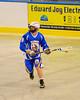 Allegany Arrows Brandon Harvey (5) looking to make a play against the Onondaga Redhawks at the Onondaga Nation Arena near Nedrow, New York on Saturday, May 3, 2014.  Onondaga won 21-5.