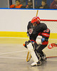 Onondaga Redhawks Edmund Cathers (30) makes a save against the Tuscaroa Tomahawks at the Onondaga Nation Arena near Nedrow, New York on Saturday, April 26, 2014. Onondaga won 8-7 in overtime.