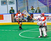 Onondaga Redhawks goalie Edmund Cathers (1) passes the ball against the Allegany Arrows in Can-Am Box Lacrosse action at the Onondaga Nation Arena near Nedrow, New York on Saturday, May 14, 2016.  Onondaga won 17-5.