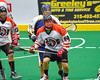 Onondaga Redhawks Luke Thompson (14) playing against the Allegany Arrows in Can-Am Box Lacrosse action at the Onondaga Nation Arena near Nedrow, New York on Saturday, May 14, 2016.  Onondaga won 17-5.