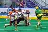 Onondaga Redhawks goalie Ross Bucktooth (30) makes a save against the Newtown Golden Eagles in Can-Am Box Lacrosse action at the Onondaga Nation Arena near Nedrow, New York on Saturday, July 9, 2016.  Onondaga won 14-6.
