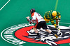 Onondaga Redhawks Dan Rogers (17) wins a face-off against the Newtown Golden Eagles in Can-Am Box Lacrosse action at the Onondaga Nation Arena near Nedrow, New York on Saturday, July 9, 2016.  Onondaga won 14-6.