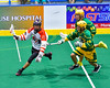Onondaga Redhawks Lyle Thompson (4) with the ball against the Newtown Golden Eagles in Can-Am Box Lacrosse action at the Onondaga Nation Arena near Nedrow, New York on Saturday, July 9, 2016.  Onondaga won 14-6.