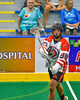 Onondaga Redhawks Bill O'Brien (96) passing the ball against the Newtown Golden Eagles in Can-Am Box Lacrosse action at the Onondaga Nation Arena near Nedrow, New York on Saturday, July 9, 2016.  Onondaga won 14-6.