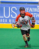 Onondaga Redhawks Dan Rogers (17) with the ball against the Newtown Golden Eagles in Can-Am Box Lacrosse action at the Onondaga Nation Arena near Nedrow, New York on Saturday, July 9, 2016.  Onondaga won 14-6.