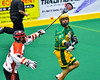 Onondaga Redhawks Brett Bucktooth (66) tries to stop a pass to a Newtown Golden Eagles player in Can-Am Box Lacrosse action at the Onondaga Nation Arena near Nedrow, New York on Saturday, July 9, 2016.  Onondaga won 14-6.