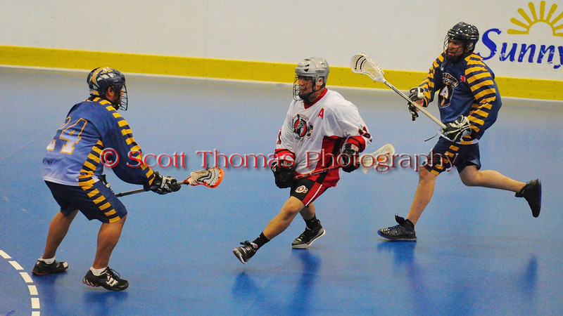 """Allegany Arrows visited the Onondaga Red Hawks in Can-Am Senior """"B"""" Box Lacrosse league action at the Onondaga Nation Arena in Nedrow, New York on Sunday, June 26, 2011.  Redhawks won 30-4."""