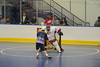 """Allegany Arrows tries to figure out how to get a goal against Onondaga Redhawks goalie Tyler Gabriel (1) in Can-Am Senior """"B"""" Box Lacrosse league action at the Onondaga Nation Arena in Nedrow, New York on Sunday, June 26, 2011.  Redhawks won 30-4."""