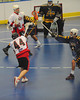 "Onondaga Redhawks Brad Gabriel (44) leans into a shot against the Allegany Arrows  in Can-Am Senior ""B"" Box Lacrosse league action at the Onondaga Nation Arena in Nedrow, New York on Sunday, June 26, 2011.  Redhawks won 30-4."