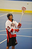 "Onondaga Red Hawks Grant Bucktooth (15) before a game against Allegany Arrows in Can-Am Senior ""B"" Box Lacrosse league at the Onondaga Nation Arena in Nedrow, New York on Sunday, June 26, 2011.  Redhawks won 30-4."