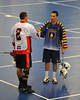 """Allegany Arrows and  Onondaga Redhawks players shake hands after a Can-Am Senior """"B"""" Box Lacrosse league game at the Onondaga Nation Arena in Nedrow, New York on Sunday, June 26, 2011.  Redhawks won 30-4."""
