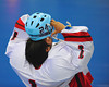 "Onondaga Red Hawks goalie Spencer Lyons (1) puting on his helmet before a Can-Am Senior ""B"" Box Lacrosse playoff game at the Onondaga Nation Arena in Nedrow, New York on Friday, July 15, 2011.  Greywolves won 12-8."