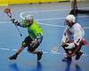 "Rochester Greywolves Steve Personale (29) being watched by Onondaga Red Hawks Tyler Hill (14) in Can-Am Senior ""B"" Box Lacrosse playoff action at the Onondaga Nation Arena in Nedrow, New York on Friday, July 15, 2011.  Greywolves won 12-8."