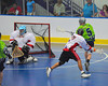 """Rochester Greywolves Dave Moss (5) shoots and scores against the Onondaga Red Hawks in Can-Am Senior """"B"""" Box Lacrosse playoff action at the Onondaga Nation Arena in Nedrow, New York on Friday, July 15, 2011.  Greywolves won 12-8."""