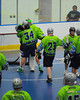 """Rochester Greywolves players celebrating after defeating the Onondaga Red Hawks in Can-Am Senior """"B"""" Box Lacrosse playoff action at the Onondaga Nation Arena in Nedrow, New York on Friday, July 15, 2011.  Greywolves won 12-8."""