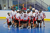 "Onondaga Red Hawks huddle up before the start of the thrid period against the Rochester Greywolves in Can-Am Senior ""B"" Box Lacrosse playoff action at the Onondaga Nation Arena in Nedrow, New York on Friday, July 15, 2011.  Greywolves won 12-8."