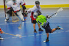 "Rochester Greywolves A.J. Laffin (1) fires a shot on net against the Onondaga Red Hawks in Can-Am Senior ""B"" Box Lacrosse playoff action at the Onondaga Nation Arena in Nedrow, New York on Friday, July 15, 2011.  Greywolves won 12-8."
