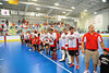 "Onondaga Redhawks waiting for the presentation of the Stanley ""Butch"" Jimerson Can-Am Lacrosse Champions Cup  after defeating the Newtown Golden Eagles in the Can-Am Senior ""B"" Box Lacrosse finals at the Onondaga Nation Arena near Nedrow, New York."