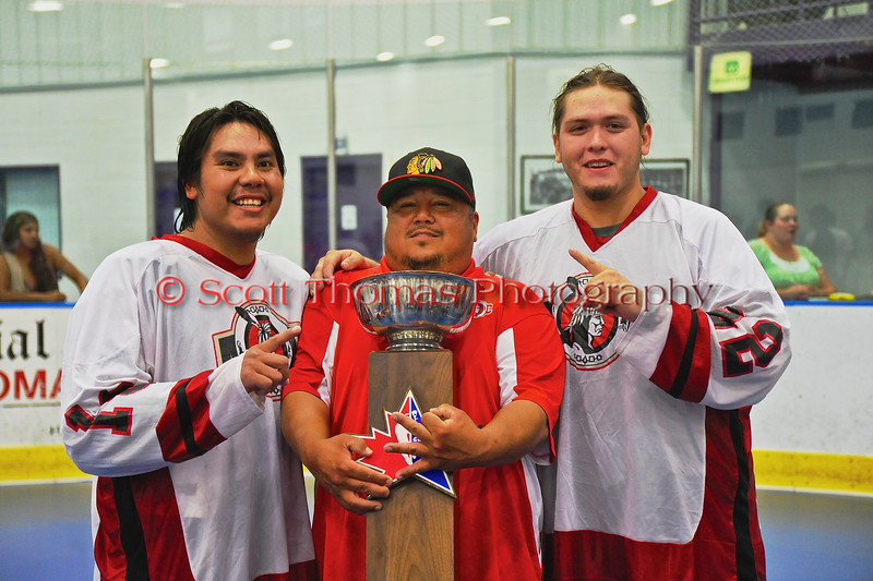 "Onondaga Redhawks host the Newtown Golden Eagles in the Can-Am Senior ""B"" Box Lacrosse finals at the Onondaga Nation Arena near Nedrow, New York."