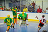 """Onondaga Redhawks Neal Powless (16) has his shot blocked against the Newtown Golden Eagles in a Can-Am Senior """"B"""" box lacrosse game at the Onondaga Nation Arena (Tsha'hon'nonyen'dakhwa') near Nedrow, New York on Saturday, May 12, 2012."""