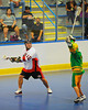 "Onondaga Redhawks Pete Benedict (10) looking to make a play against the Newtown Golden Eagles in a Can-Am Senior ""B"" box lacrosse game at the Onondaga Nation Arena (Tsha'hon'nonyen'dakhwa') near Nedrow, New York on Saturday, May 12, 2012."