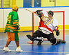 "Onondaga Redhawks goalie Ross Bucktooth (30) makes a save against the Newtown Golden Eagles in a Can-Am Senior ""B"" box lacrosse game at the Onondaga Nation Arena (Tsha'hon'nonyen'dakhwa') near Nedrow, New York on Saturday, May 12, 2012."
