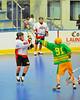 "Newtown Golden Eagles Brian Stevens (91) blocks a shot by an Onondaga Redhawks player in a Can-Am Senior ""B"" box lacrosse game at the Onondaga Nation Arena (Tsha'hon'nonyen'dakhwa') near Nedrow, New York on Saturday, May 12, 2012."