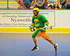 "Newtown Golden Eagles carrying the ball against the Onondaga Redhawks in a Can-Am Senior ""B"" box lacrosse game at the Onondaga Nation Arena (Tsha'hon'nonyen'dakhwa') near Nedrow, New York on Saturday, May 12, 2012."