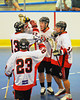 "Onondaga Redhawks celebrating a third period goal against the Newtown Golden Eagles in a Can-Am Senior ""B"" box lacrosse game at the Onondaga Nation Arena (Tsha'hon'nonyen'dakhwa') near Nedrow, New York on Saturday, May 12, 2012."