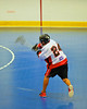 Onondaga Redhawks David Stout (24) takes a shot against the Niagara Hawks in Can-Am Senior B Box Lacrosse game held at the Onondaga Nation Arena near Nedrow, New York on Sunday, June 10, 2012. Redhawks won 11-4.