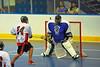 Onondaga Redhawks David Stout (24) scores against the Niagara Hawks in Can-Am Senior B Box Lacrosse game held at the Onondaga Nation Arena near Nedrow, New York on Sunday, June 10, 2012. Redhawks won 11-4.