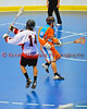 """Onondaga Redhawks Tyler Hill (14) after taking a shot against the Six Nations Slash in round two of the Can-Am Senior """"B"""" playoffs at the Onondaga Nation Arena near Nedrow, New York on Friday, July 27, 2012. Redhawks won 17 to 5."""