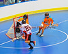 """Onondaga Redhawks Dustin Hill (20) scores against Six Nations Slash in round two of the Can-Am Senior """"B"""" playoffs at the Onondaga Nation Arena near Nedrow, New York on Friday, July 27, 2012. Redhawks won 17 to 5."""