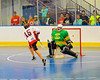 "Onondaga Redhawks Grant Bucktooth (15) scores against the Newtown Golden Eagles in the Can-Am Senior ""B"" Box Lacrosse finals at the Onondaga Nation Arena near Nedrow, New York."