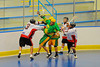 "Onondaga Redhawks defenders work to get the ball away from the Newtown Golden Eagles players in the Can-Am Senior ""B"" Box Lacrosse finals at the Onondaga Nation Arena near Nedrow, New York."