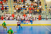 "Onondaga Redhawks Dustin Hill (20) with the ball in front of his team's bench against the Newtown Golden Eagles in the Can-Am Senior ""B"" Box Lacrosse finals at the Onondaga Nation Arena near Nedrow, New York."